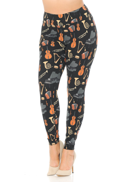 Wholesale Buttery Soft Musical Instrument Extra Plus Size Leggings - 3X-5X