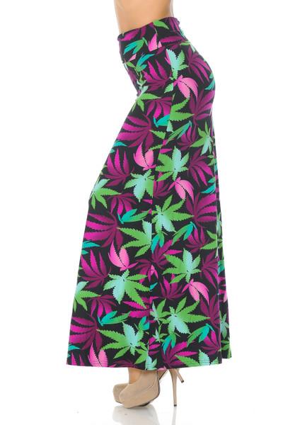 Wholesale Buttery Soft Fuchsia Marijuana Maxi Skirt