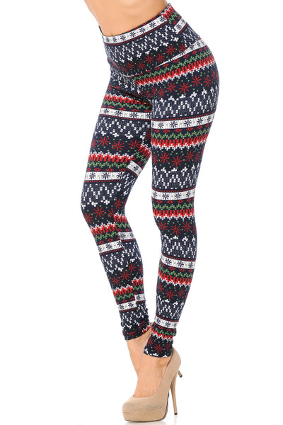 Wholesale Burgundy Snowflakes High Waisted Fleece Lined Leggings