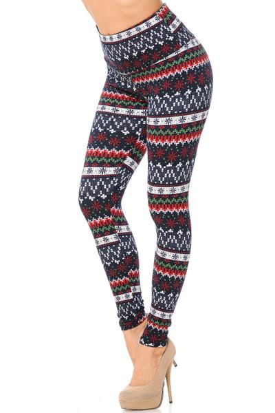 Wholesale Burgundy Snowflakes High Waisted Fleece Lined Leggings