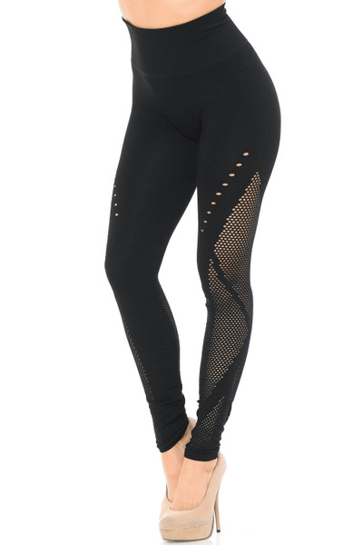 Wholesale Sexy Contour Mesh High Waisted Leggings