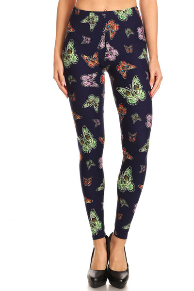 Wholesale Buttery Soft Blue Moon Colorful Butterfly Extra Plus Size Leggings - 3X-5X