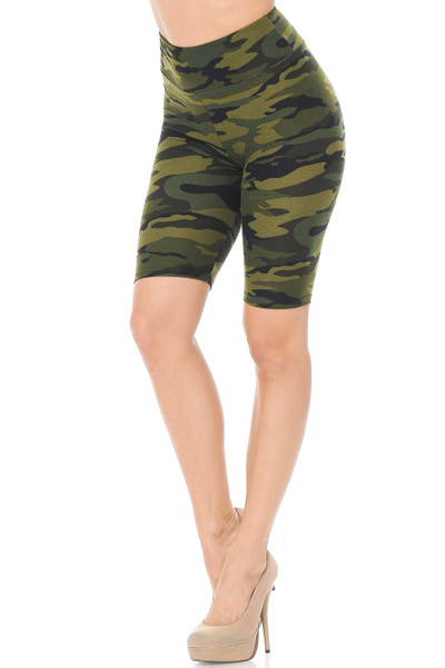 Wholesale Buttery Soft Green Camouflage Biker Shorts - 3 Inch Waist Band