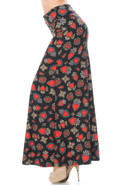 Wholesale Buttery Soft Jeweled Hearts Maxi Skirt
