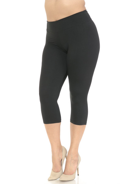 Wholesale Buttery Soft Basic Solid High Waisted Plus Size Capris - 3 Inch - New Mix