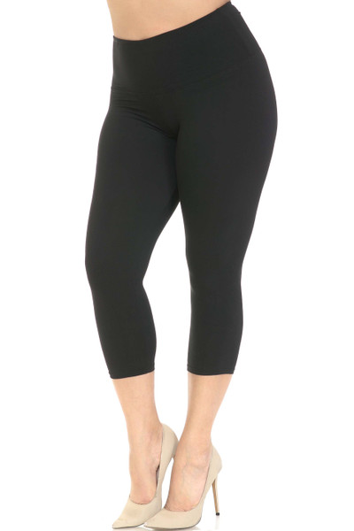 Wholesale Buttery Soft Basic Solid High Waisted Plus Size Capris - 5 Inch - New Mix