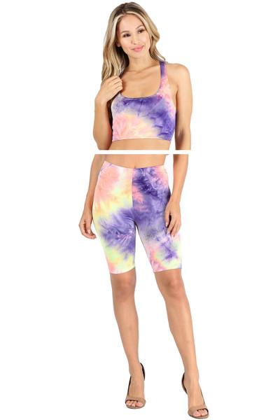 Wholesale 2 Piece Neon Summer Shorts and Bra Top Set - Neon Mix