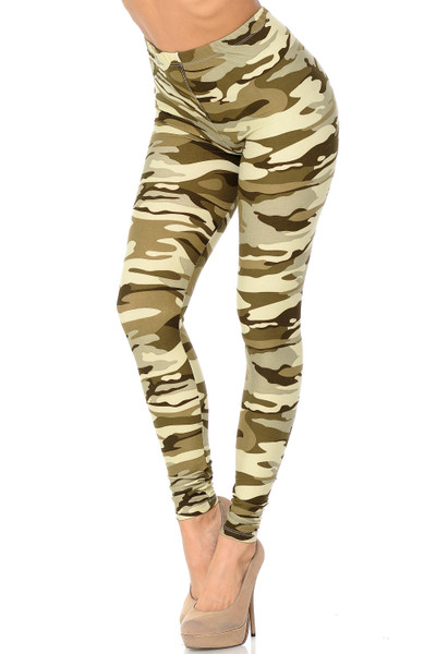 Wholesale Buttery Soft Light Olive Camouflage Plus Size Leggings