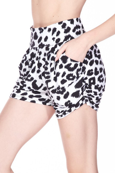 Wholesale Buttery Soft Ivory Spotted Leopard Plus Size Harem Shorts