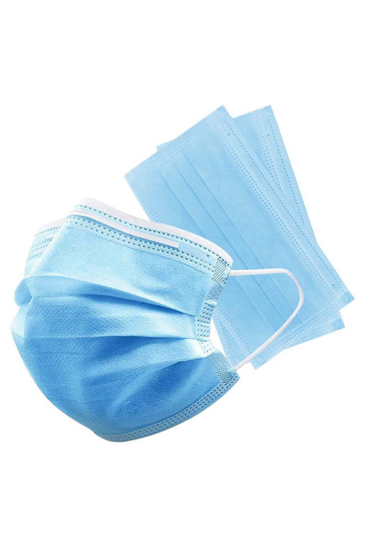 25 x 2-Packs (50 Pieces) - Blue Disposable Face Masks - Wrapped in Packs of 2