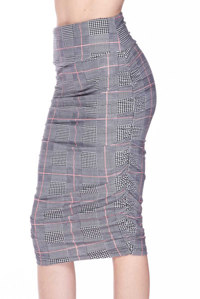 Wholesale Buttery Soft Coral Accent Glenn Plaid Pencil Skirt
