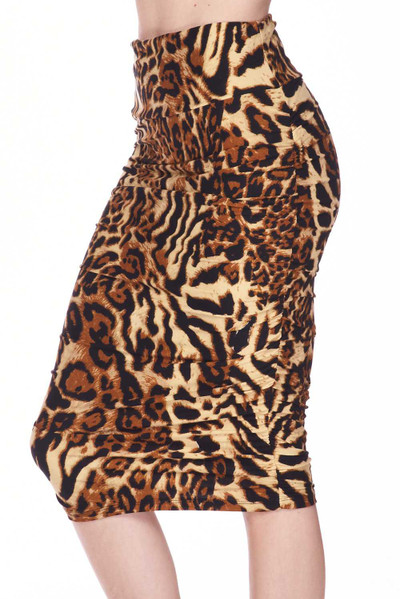 Wholesale Buttery Soft Predator Leopard Pencil Skirt