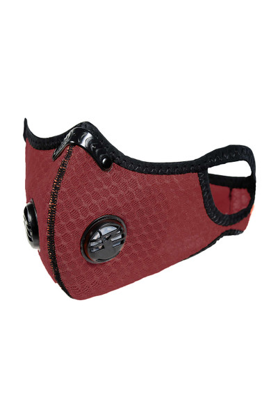 Wholesale Burgundy Dual Valve Mesh Sport Face Mask with PM2.5 Filter