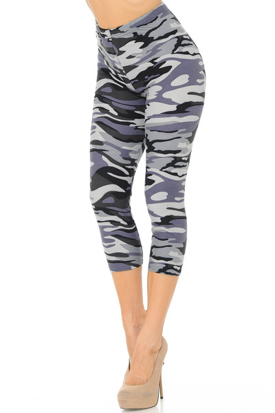 Wholesale Buttery Soft Monochrome Camouflage Capris