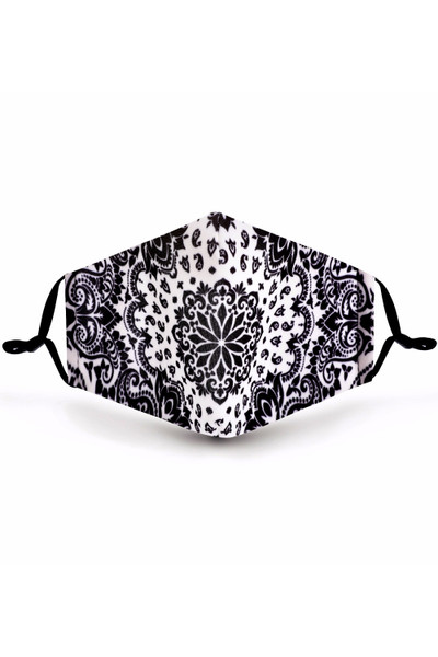 Wholesale Black and White Blooming Paisley Graphic Print Face Mask