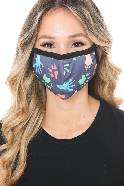 Wholesale Animal Tracks Graphic Print Face Mask
