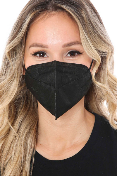 Front Image of Wholesale Black KN95 Face Mask- Singles - Individually Wrapped