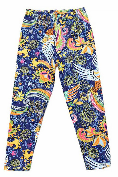 Wholesale Buttery Soft Dazzling Rainbow Paisley Kids Leggings