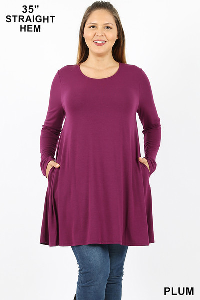 Front of Plum Wholesale Long Sleeve Plus Size Swing Tunic with Pockets