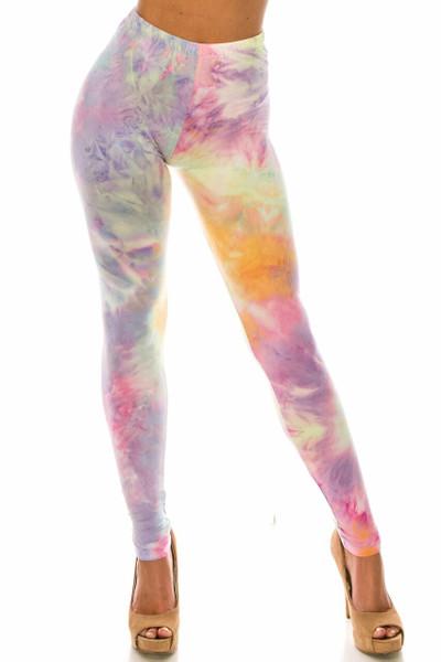 Wholesale Buttery Soft Multi-Color Pastel Tie Dye Plus Size Leggings