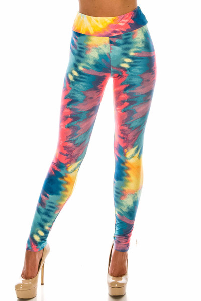Wholesale Buttery Soft Multi-Color-Bold Tie Dye High Waisted Leggings