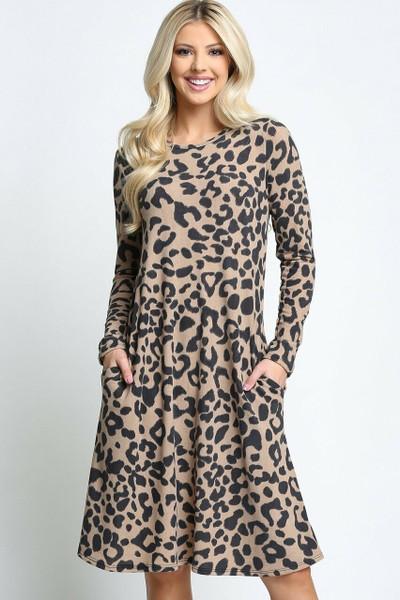 Taupe Wholesale -Leopard  Long Sleeve Midi Dress