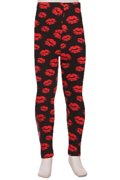 Wholesale Buttery Soft Red Lips Kids Leggings