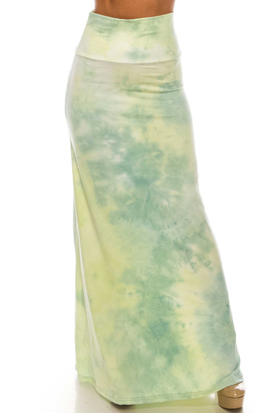 Wholesale Buttery Soft Mint Tie Dye Maxi Skirt