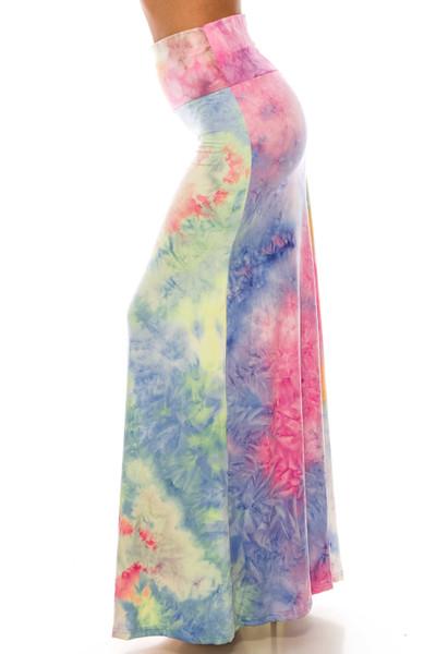 Wholesale Buttery Soft Multi-Color Pastel Tie Dye Maxi Skirt