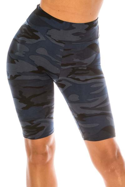 Wholesale Buttery Soft  Navy Camouflage Plus Size Biker Shorts - 3 Inch Waist
