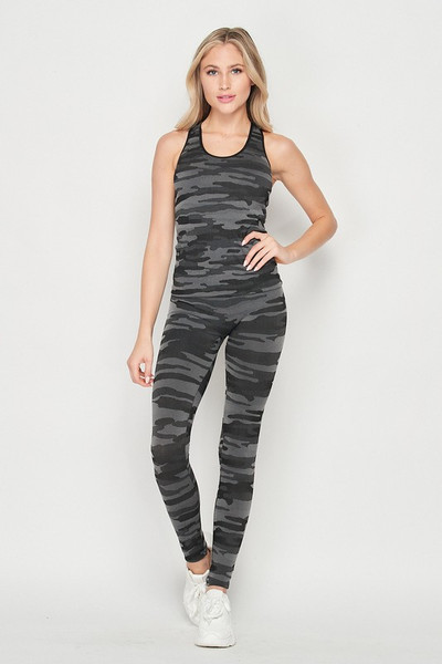 Wholesale 2 Piece Seamless Charcoal Camouflage Tank Top and Legging Set