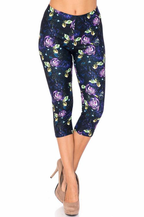 Wholesale Creamy Soft Purple and Violet Rose Extra Plus Size Capris - 3X-5X - USA Fashion™