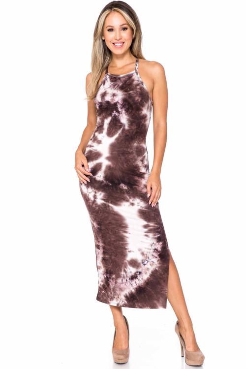 Wholesale Buttery Soft X Back Side Slit Tie Dye Summer Dress