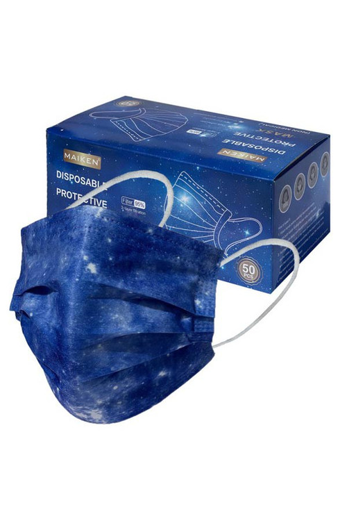 Wholesale Blue Galaxy Disposable Surgical Face Mask - 50 Pack