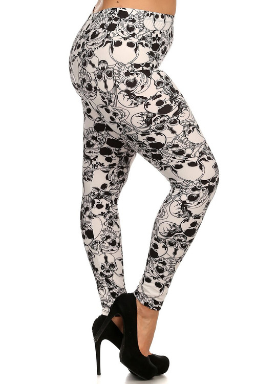 Wholesale Buttery Soft White Layers of Skulls Plus Size Leggings