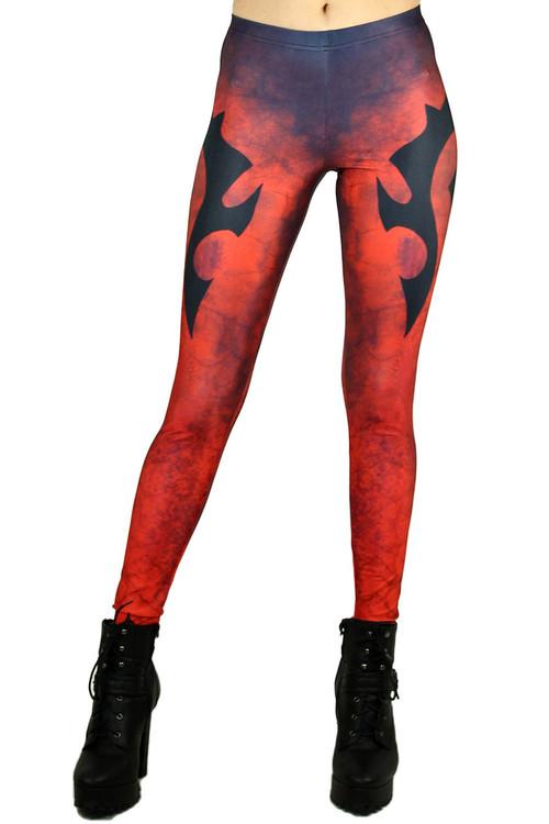 Front side image of Wholesale Graphic Print Evil Emblem Leggings