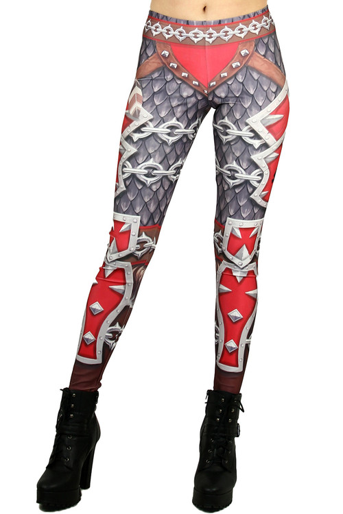 Front side image of Wholesale Graphic Print Red Steel Armor Leggings