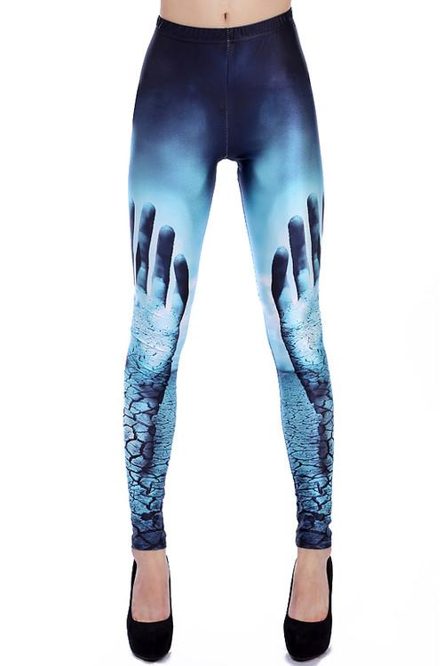 Front side image of Wholesale Premium Graphic Hands Raised Leggings