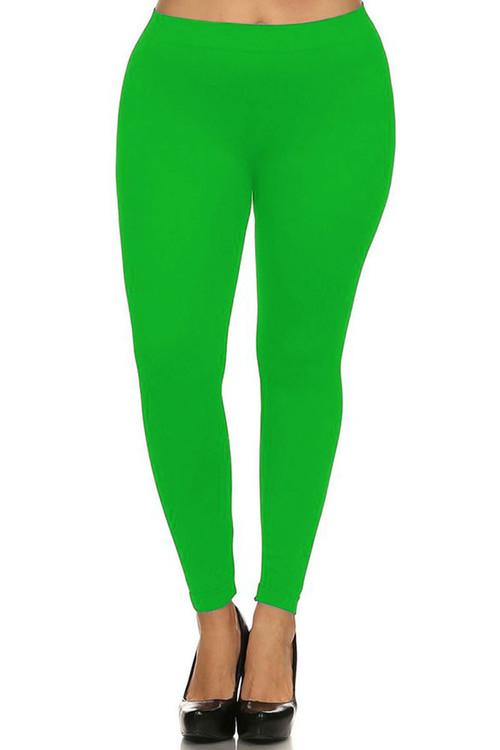 Front side image of Wholesale Full Length Neon Nylon Spandex Plus Size Leggings
