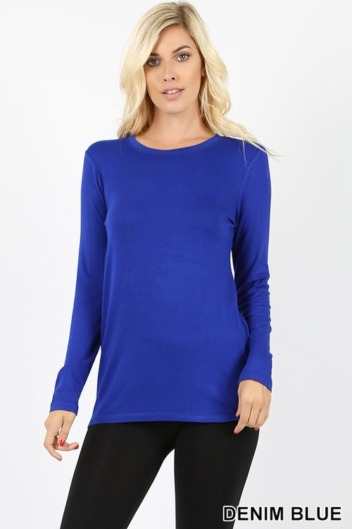 Wholesale Premium Round Neck Long Sleeve Rayon Top