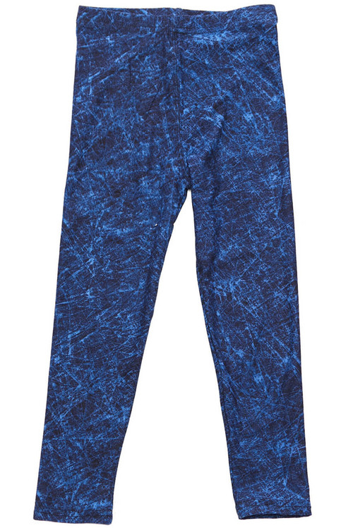 Wholesale Buttery Soft Distressed Blue Kids Leggings