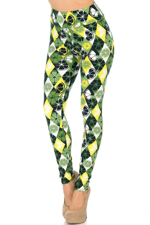 Wholesale Buttery Soft Luck of the Irish Lime High Waisted Plus Size Leggings