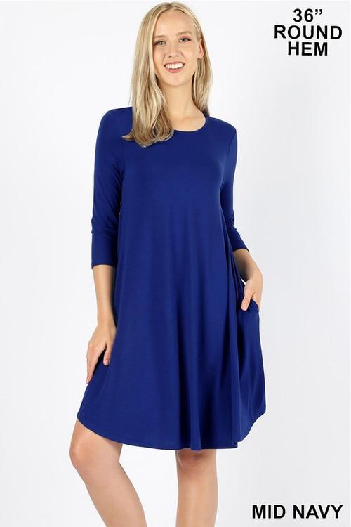 Wholesale 3/4 Sleeve Longline Round Hem Rayon Tunic with Pockets