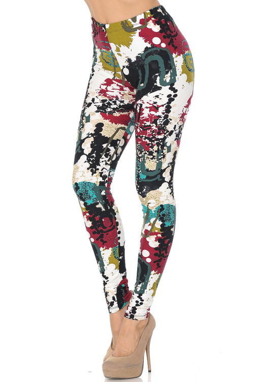 Wholesale Buttery Soft Summer Picasso High Waisted Plus Size Leggings - 3X - 5X