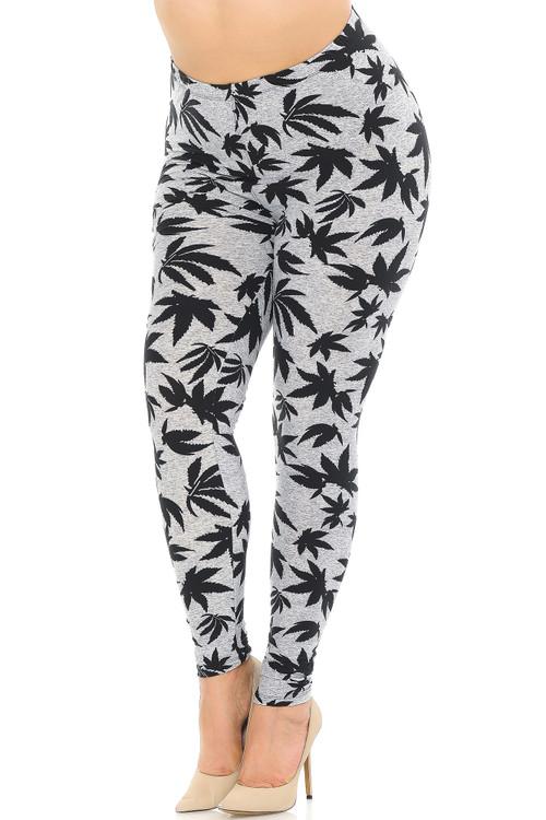 Wholesale Buttery Soft Solid Heather Grey Marijuana Extra Plus Size Leggings - 3X-5X