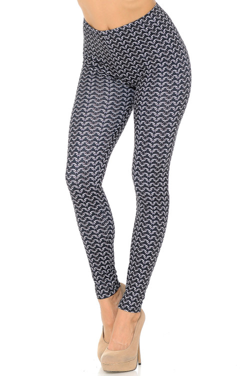 Wholesale Soft Double Brushed Chain Mail Leggings