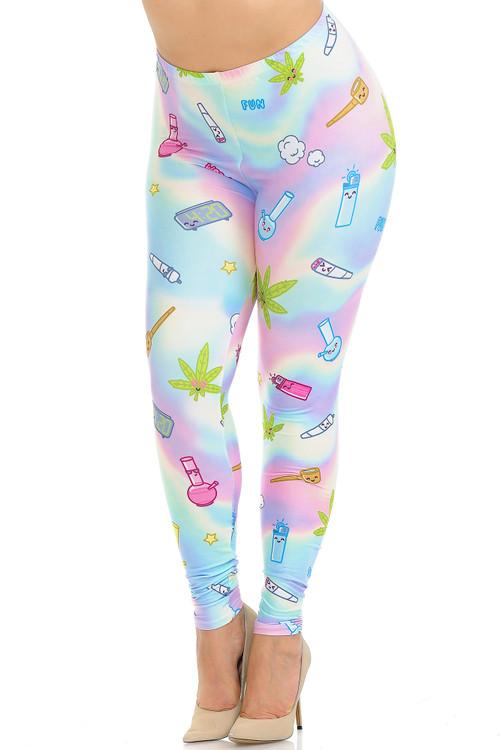 Wholesale Creamy Soft Marijuana Life Plus Size Leggings - USA Fashion™
