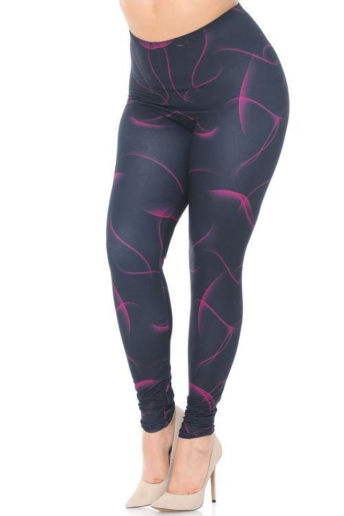 Wholesale Creamy Soft Fuchsia Mist Plus Size Leggings - USA Fashion™