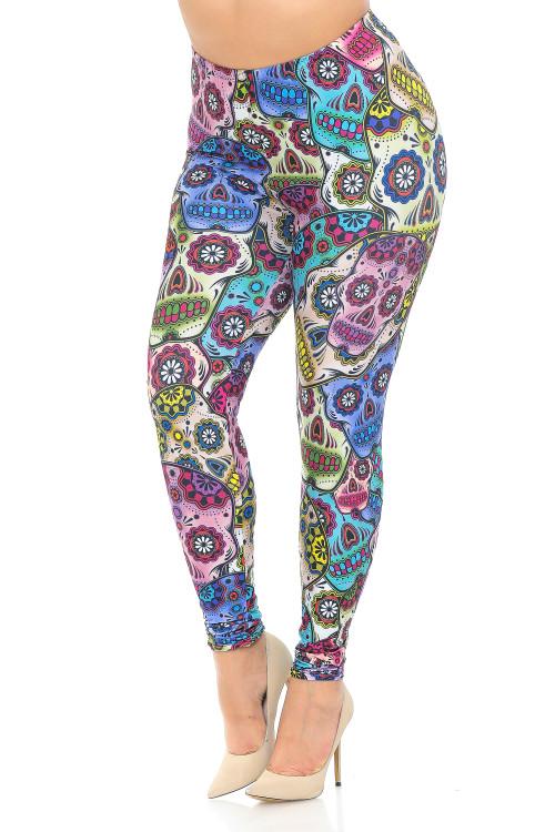 Wholesale Creamy Soft Sugar Skull Plus Size Leggings - USA Fashion™