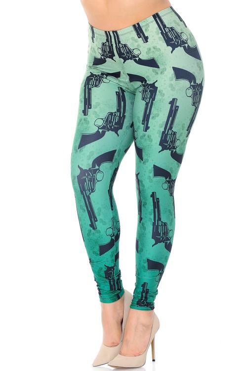 Wholesale Creamy Soft Ombre Green Guns Plus Size Leggings - USA Fashion™